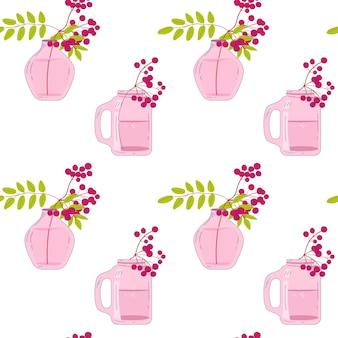 Vasen mit handgezeichnetem nahtlosem muster der vogelbeeren