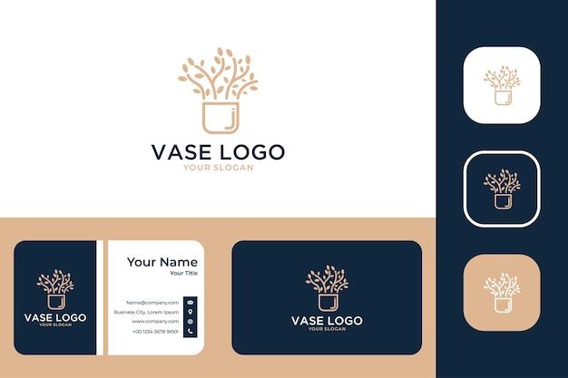Vasenpflanzen-logo-design und visitenkarte