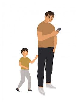 Vater achtet nicht auf seinen sohn. ein vielbeschäftigter elternteil schaut auf das telefon, sein kind zieht an der hand und macht auf sich aufmerksam. das kind ist verärgert. internet-sucht-konzept. Premium Vektoren