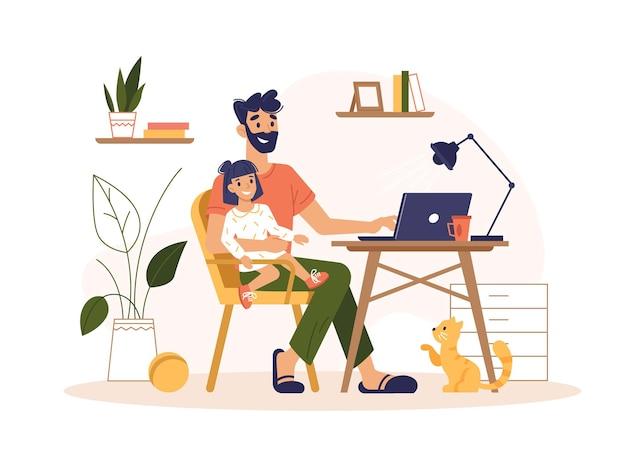 Vater arbeitet zu hause mit laptop freiberuflichen online-büro