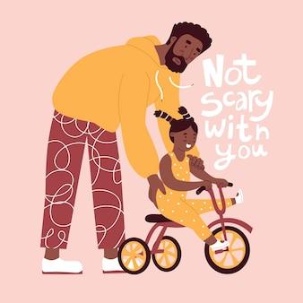Vater bringt tochter bei, drei zyklen im flachen stil in vektorillustration zu fahren nicht beängstigend mit dir