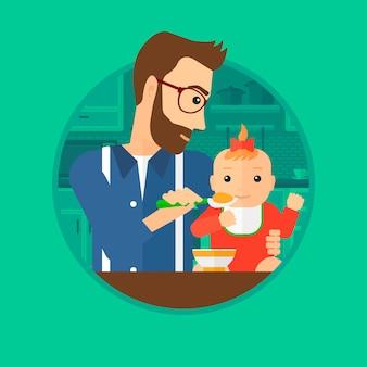Vater füttert baby.
