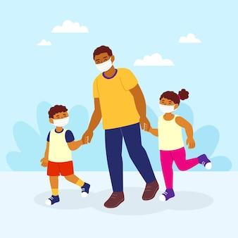 Vater geht mit kindern mit medizinischen masken
