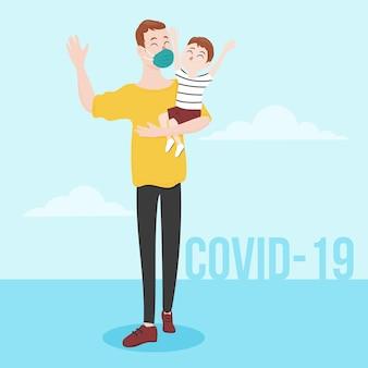 Vater geht mit seinem kind spazieren