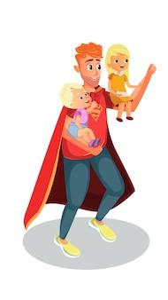 Vater gekleidet in superheldenkostüm halten kinder