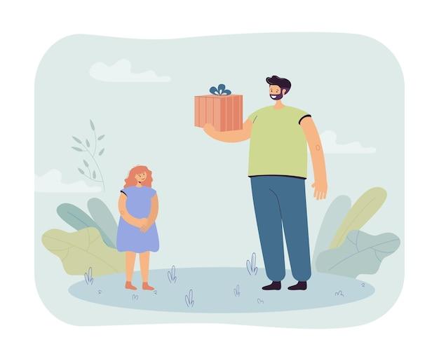 Vater gibt der tochter ein geschenk