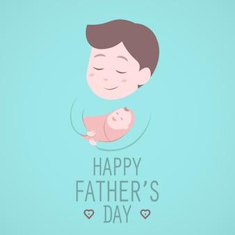 Vater hält süßes baby