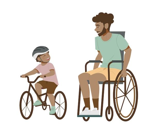 Vater im rollstuhl und sohn radfahren flache illustration