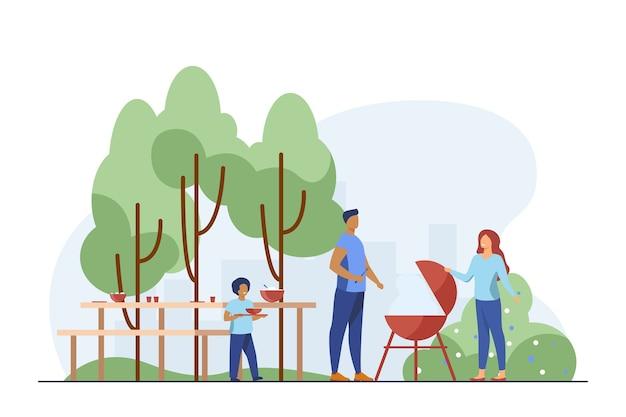 Vater kocht grill auf picknick. park, natur, lebensmittel flache vektorillustration. familien- und wochenendkonzept