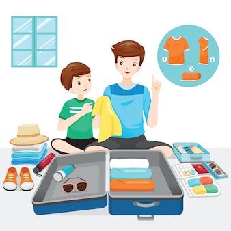 Vater lehrt seinen sohn, kleidung und notwendigkeiten auf dem gepäck für die reise vorzubereiten