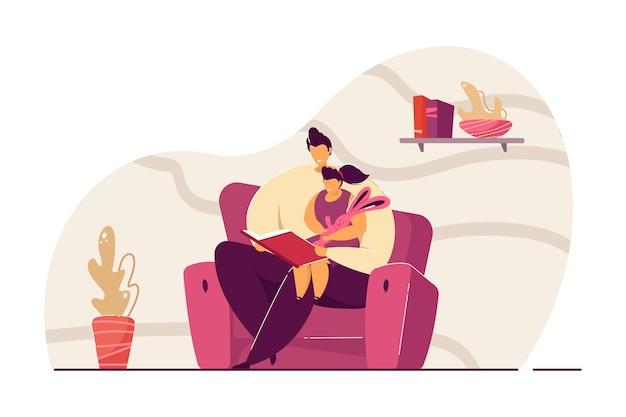 Vater-lesebuch tochter flache vektor-illustration. kleines mädchen sitzt auf dem schoß des mannes und hört märchen. familie, lesebuchkonzept für banner, website-design oder landing-webseite