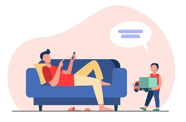 Vater liegt auf dem sofa und hört sohn mit spielzeug. flache vektorillustration des kindes, des lastwagens, der sprechblase. kommunikations- und elternschaftskonzept