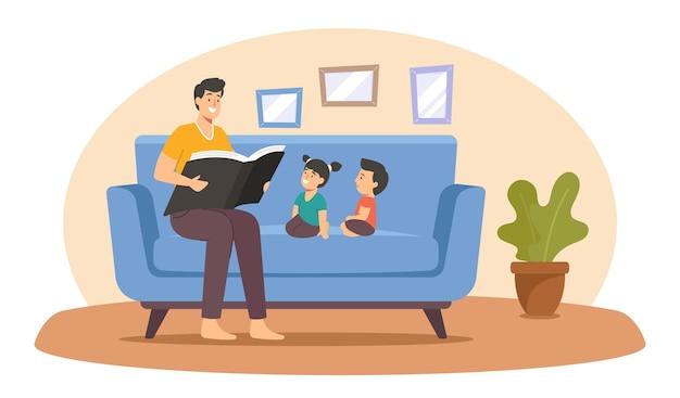 Vater liest buch für kinder, glückliche familiencharaktere verbringen zeit zusammen zu hause, eltern lesen kindern vor, freizeit