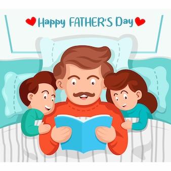 Vater liest kindern im bett ein buch vor. glückliche vatertagsillustration