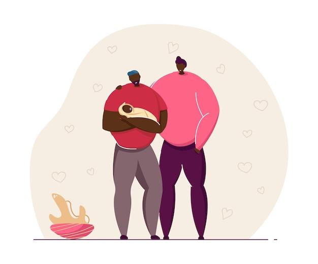 Vater mit baby-vektor-illustration. junge schwule eltern, die kind verehren. gewickelter neugeborener junge oder mädchen. lgbt-familienkonzept für website-design.