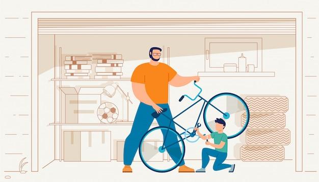 Vater mit dem sohn, der fahrrad im garagen-vektor repariert