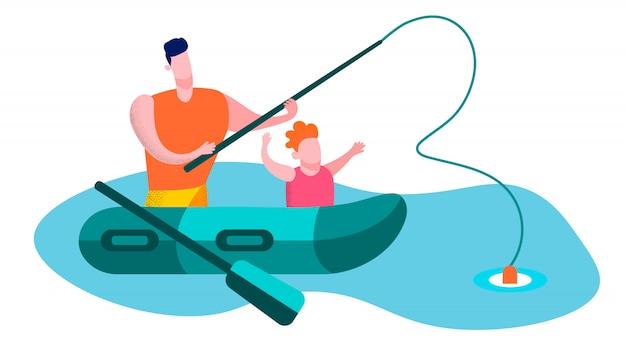Vater mit dem sohn, der flache glückliche familie fischt