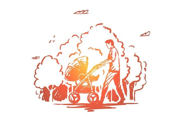 Vater mit kinderwagen auf spaziergang im park, vater und kind illustration