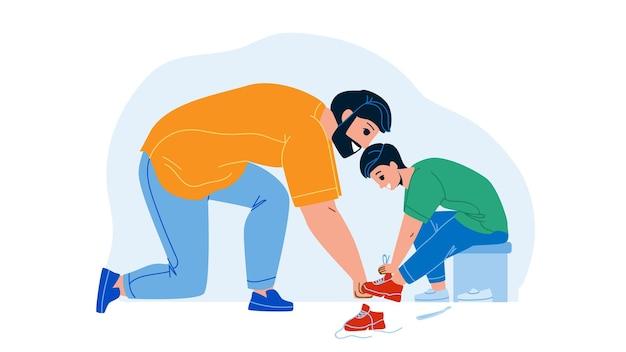 Vater mit sohn schuhe im kid store vector anprobieren. mann hilft jungen bei der auswahl von schuhen im kleiderladen für kinder. charaktere elternteil mit kind kaufen schuhe im shop, saisonverkauf flache cartoon-illustration