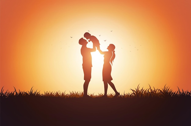 Vater mutter und kinder silhouette spielen auf gras im sonnenuntergang.
