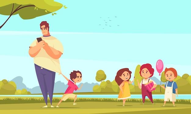 Vater schaut auf smartphone und kind, das ihn für einen spaziergang im park schleppt