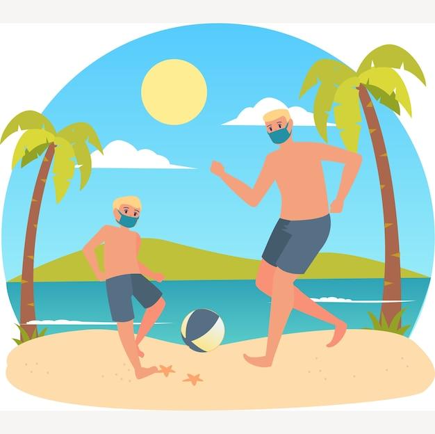 Vater spielt fußball mit seinem sohn am strand, während er eine medizinische maske benutzt
