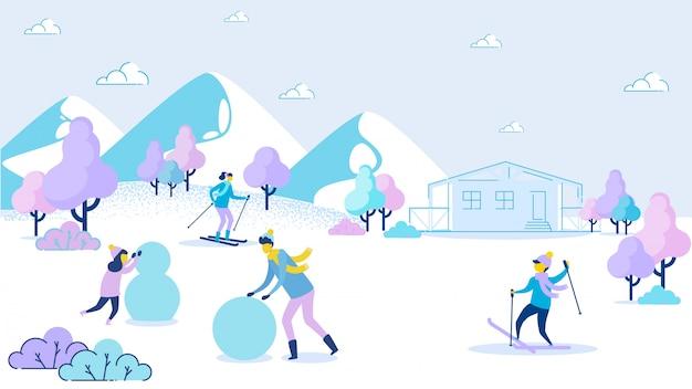 Vater-tochter machen schneemann-jungen-mutter-skifahren