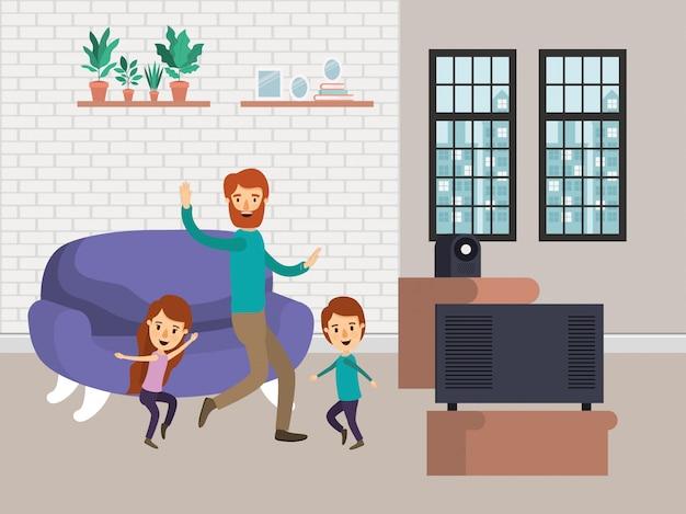 Vater, tochter und sohn im wohnzimmer
