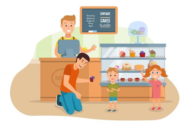 Vater und kinder, die bäckerei-shop-illustration besuchen