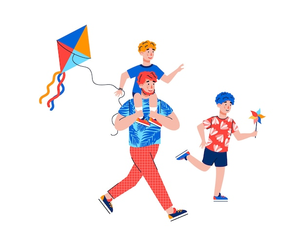 Vater und kinder fliegen einen drachen lokalisiert auf weißem hintergrund. karikaturmann, der sohn auf schultern trägt, spielt und läuft mit kindern, illustration.