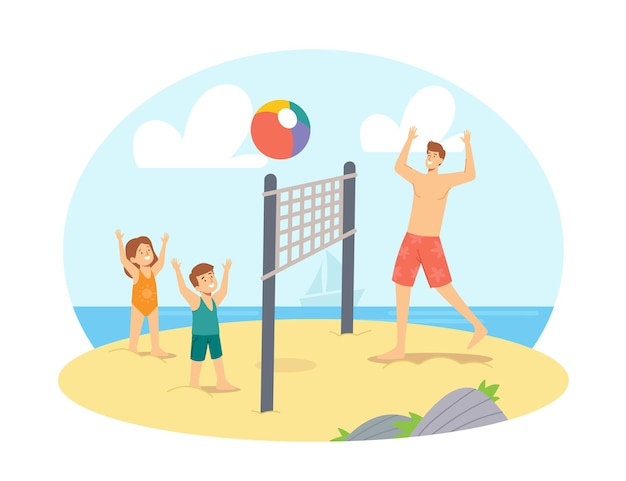 Vater und kinder spielen beach-volleyball am meer. glückliche familienferien freizeit. charaktere papa und kinderspiel