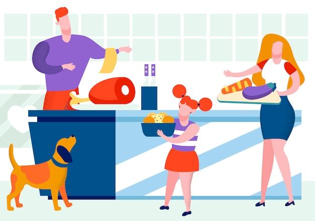 Vater und kleine tochter, die auf küche kochen