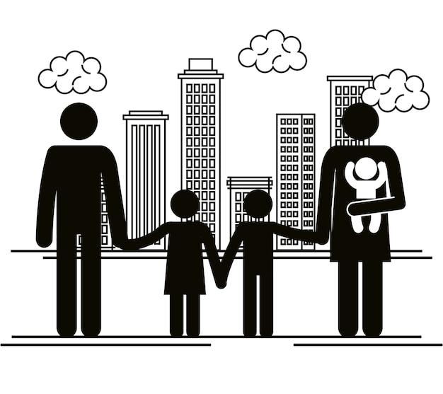 Vater und mutter mit kindern silhouetten