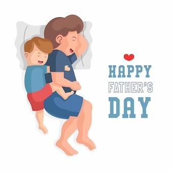 Vater und sein sohn schlafen zusammen. der sohn umarmte den vater. glückliche vatertagswohnungsdesignkonzeptillustration.