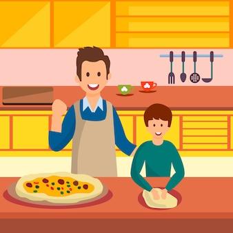 Vater und sohn, die pizza-vektor-illustration kochen