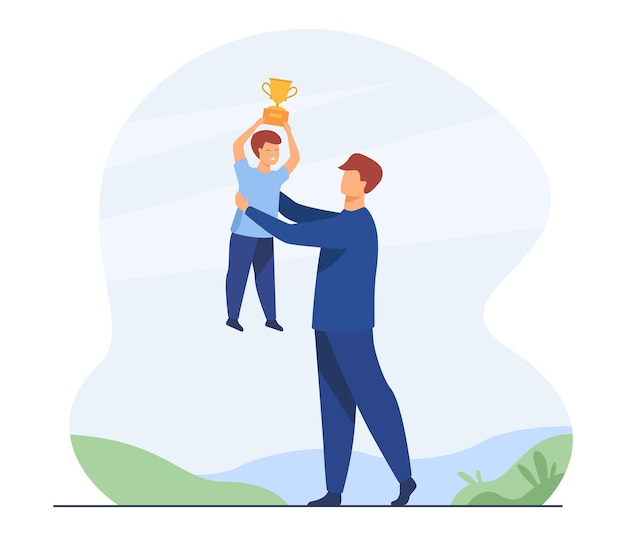 Vater und sohn feiern jungen triumph. mann, der kind hebt, das siegerpokal hält. karikaturillustration