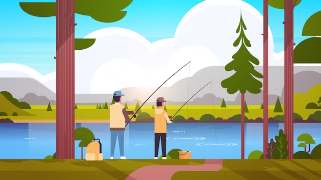 Vater und sohn fischen zusammen rückansicht mann mit kleinem jungen unter verwendung von stangen glückliche familie wochenende fischer hobby konzept sonnenuntergang berge landschaft hintergrund flach in voller länge horizontal