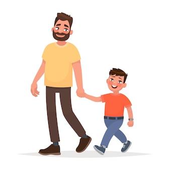 Vater und sohn gehen zusammen. vektorabbildung in der karikaturart