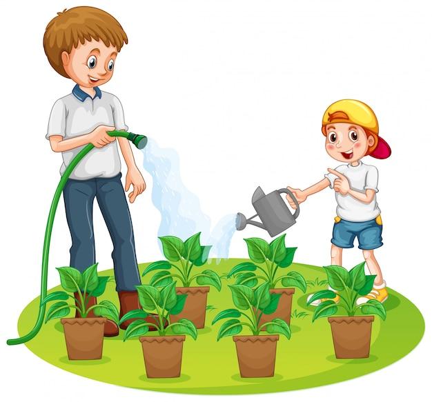 Vater und sohn gießen die pflanzen im garten