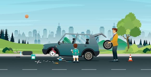 Vater und sohn helfen beim radwechsel des autos