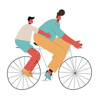 Vater und sohn in fahrradfiguren