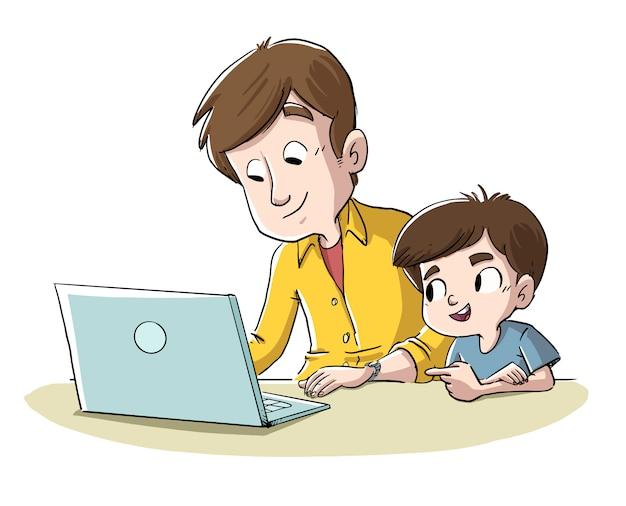 Vater und sohn mit computer