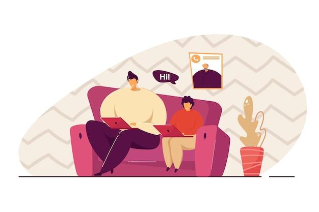 Vater und sohn mit laptops haben video-chat mit großvater. mann und junge, die zu hause computer benutzen flache vektorillustration. familie, kommunikation, technologiekonzept für bannerdesign, landing page