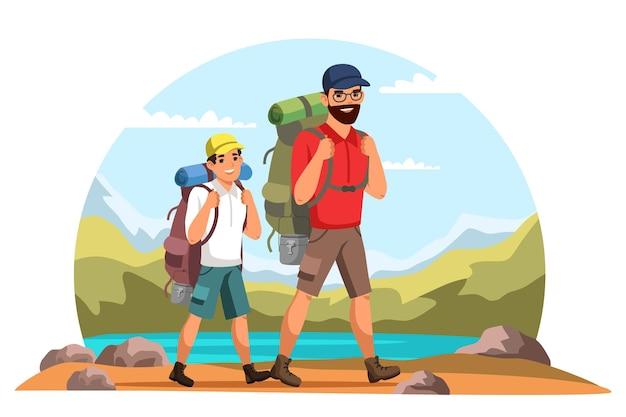 Vater und sohn mit rucksäcken fahren in die berge, reisen mit der familie, machen urlaub, wandern