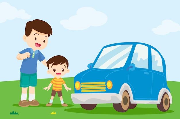Vater und sohn schauen ins auto