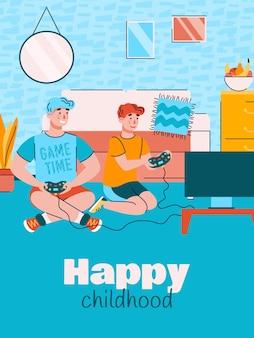 Vater und sohn spielen computerspiel-karikaturplakat