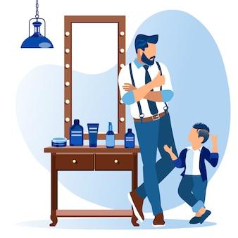 Vater und sohn stehen am großen spiegel im friseurladen