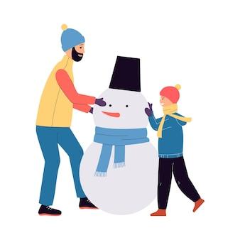 Vater und sohn zeichentrickfiguren machen schneemann