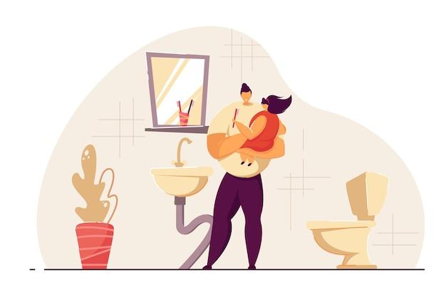 Vater und tochter, die morgens im badezimmer abwaschen. mann, der mädchen in den händen hält, zähne zusammen putzen. flache vektorillustration. hygiene, familienkonzept für banner, website-design oder landing page