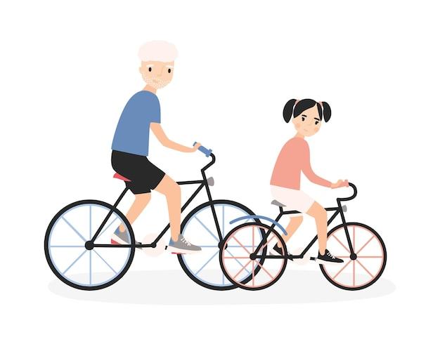 Vater und tochter fahren fahrrad.